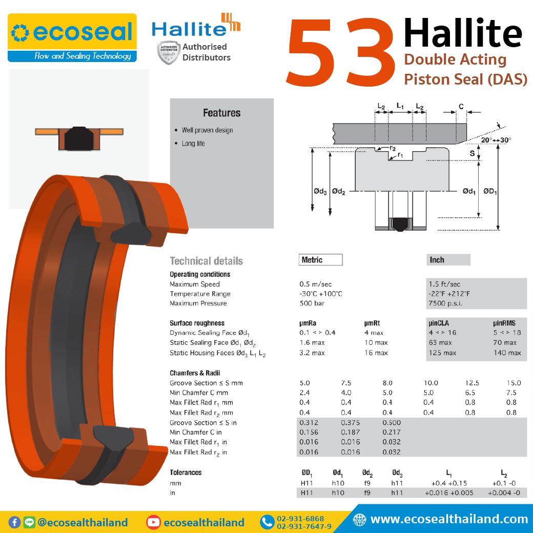 Hallite 53 Double Acting Piston Seal (DAS)
